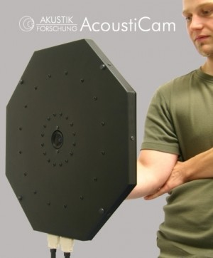 hand-held acoustic camera optimized to localization of high frequency sound sources like squeaking and creaking
