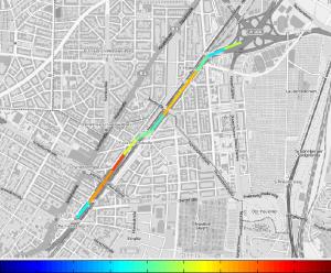 Darstellung der Messergebnisse einer Rollegeräuschmessung (CPX-Messung) in einer GPS-referenzierten Karte