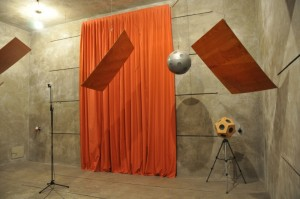 measurement of sound absorption of curtain in the reverberation chamber accoring to DIN EN ISO 354