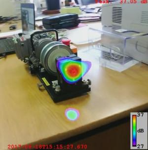 Lokalisation von Schallquellen mit mobilem Mikrofonarray und Software BeamformingX an Drehmaschine