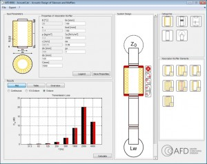 calculation of transmission loss of exhaust system with muffler software AED 8001 - AcoustiCalc