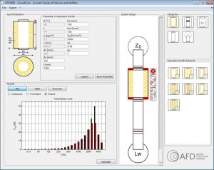 Interface of muffler software for acoustic design of complete muffler systems