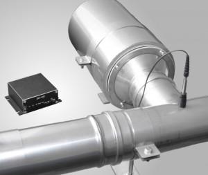 digitales Signalverarbeitungs-Modul des aktiven Schalldämpfers + Ankopplung von Gegenschall-/ Antischallquelle an Rohr-Schornsteinsystem eines BHKW