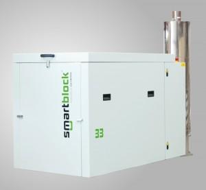 Blockheizkraftwerk (BHKW) mit Schalldämpfer-System im Abgasstrang