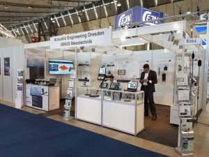 Stand of Gesellschaft für Akustikforschung Dresden mbH at the trade show Automotive Testing Expo Europe 2018