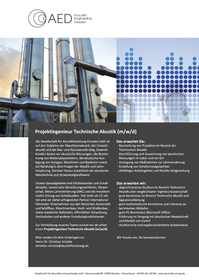 Stellenausschreibung Stellenangebote Stellenbeschreibung Projektingenieur Technische Akustik