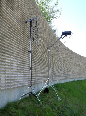 Sound absorption meter AcoustiAdrienne for nondestructive measurement of sound absorption coefficient, sound insulation and sound diffraction at noise barriers in situ
