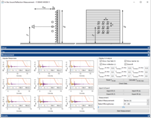 """Analysis software """"AcoustiStudio - Module Sound Absorption In Situ"""" for measurement of sound reflexion index and sound absorption coefficient at noise barriers with sound absorption meter AcoustiAdrienne in situ"""
