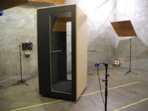 Measurement of sound absorbing and sound insulating properties of closed cabins and partially open noise-reducing furniture ensembles by means of artificial mouth noise source
